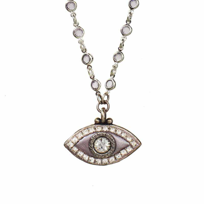 Lilac Evil Eye Necklace on Crystal Chain