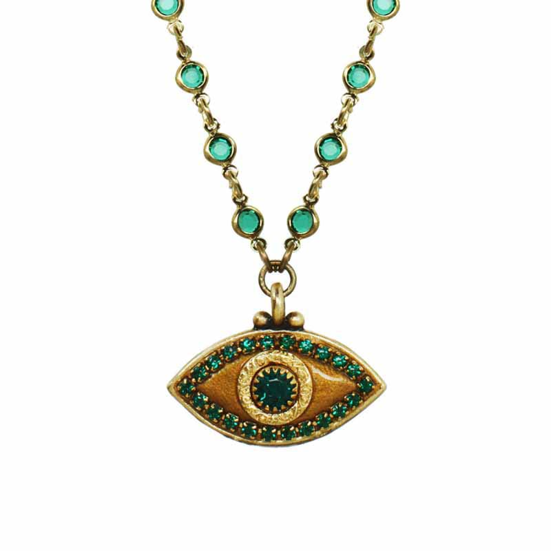 Emerald Green Evil Eye Necklace