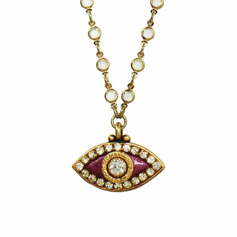 Metallic Fuchsia Evil Eye Necklace