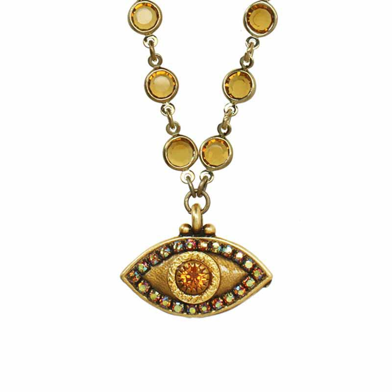 Bronzed Gold Evil Eye Necklace