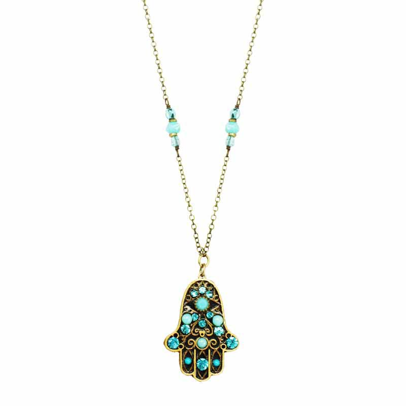 Black and Blue Hamsa Necklace