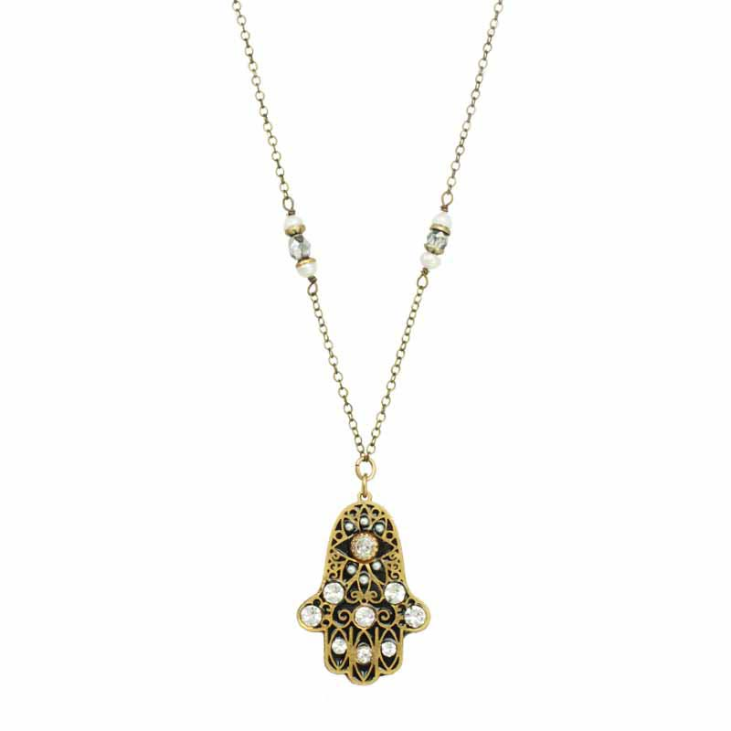 Black & Gold Hamsa Necklace