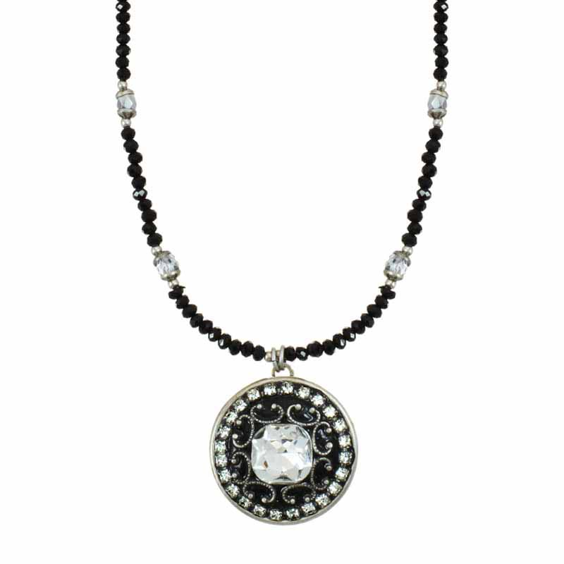 Galaxy medium round pendant on beaded necklace