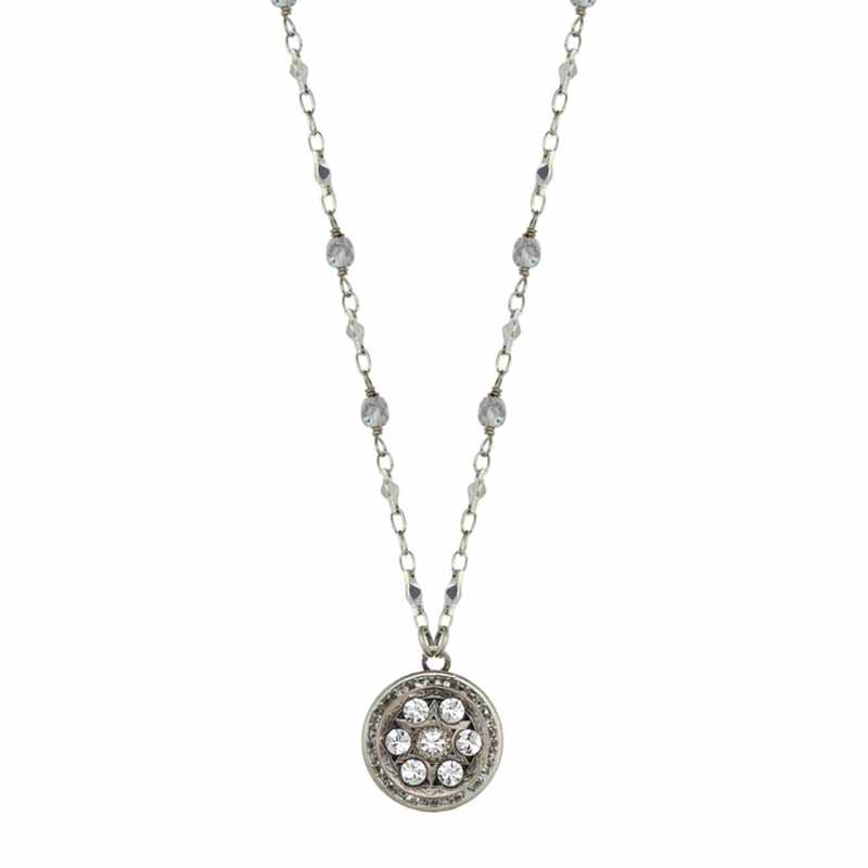 Round Crystal Star of David Necklace