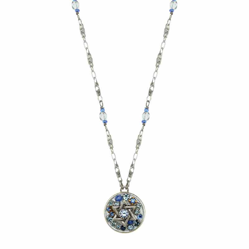 Silver and Blue Star of David Necklace