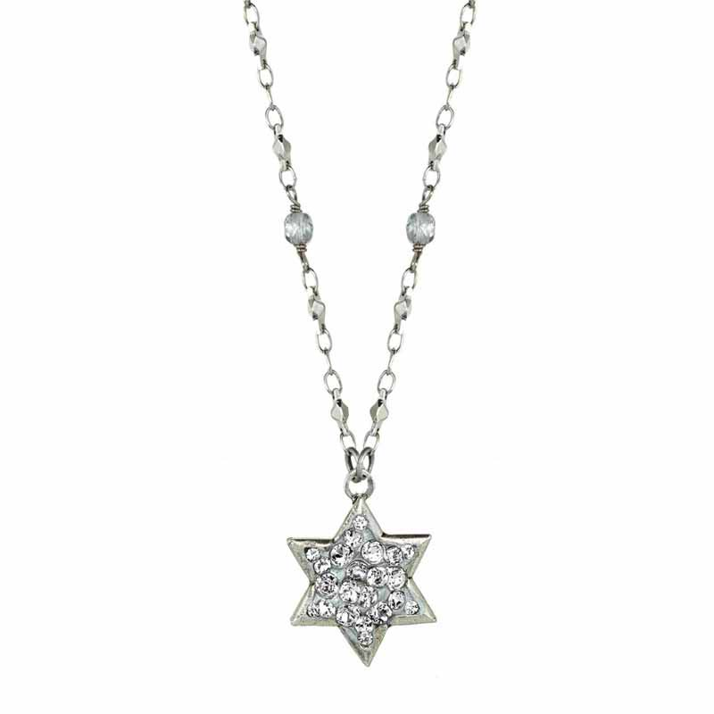 Crystal Silver Star of David Necklace