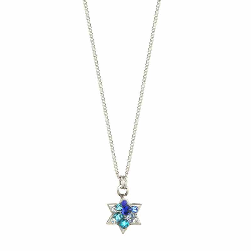 Small Blue Crystal Star of David Necklace