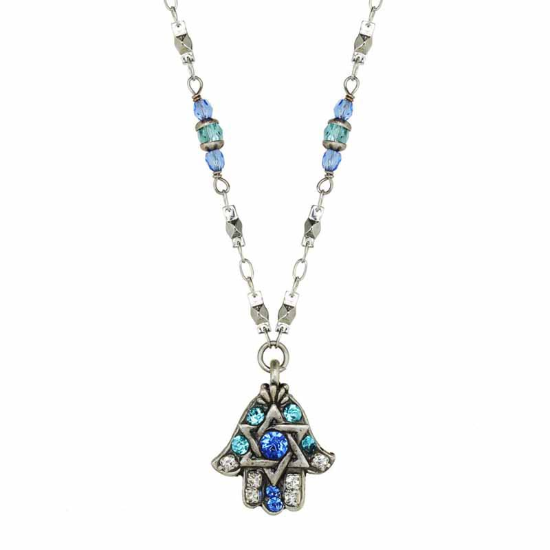 Blue Star of David Hamsa Necklace