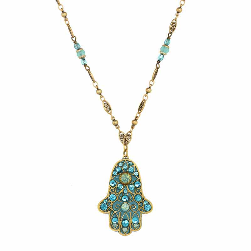 Large Aqua Hamsa Necklace