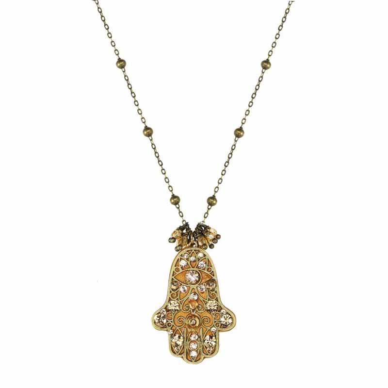 Gold and Crystal Hamsa Long Necklace