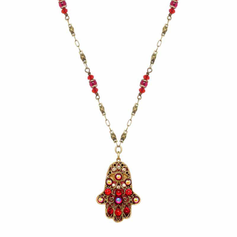 Fiery Red Hamsa Necklace