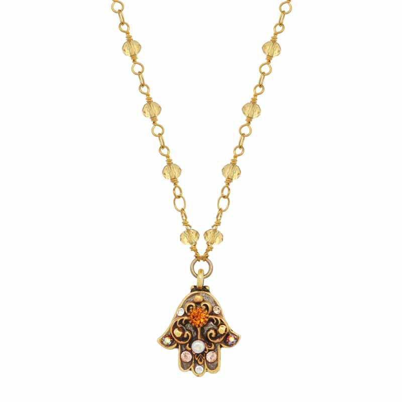 Orange and Gold Crystal Hamsa Necklace