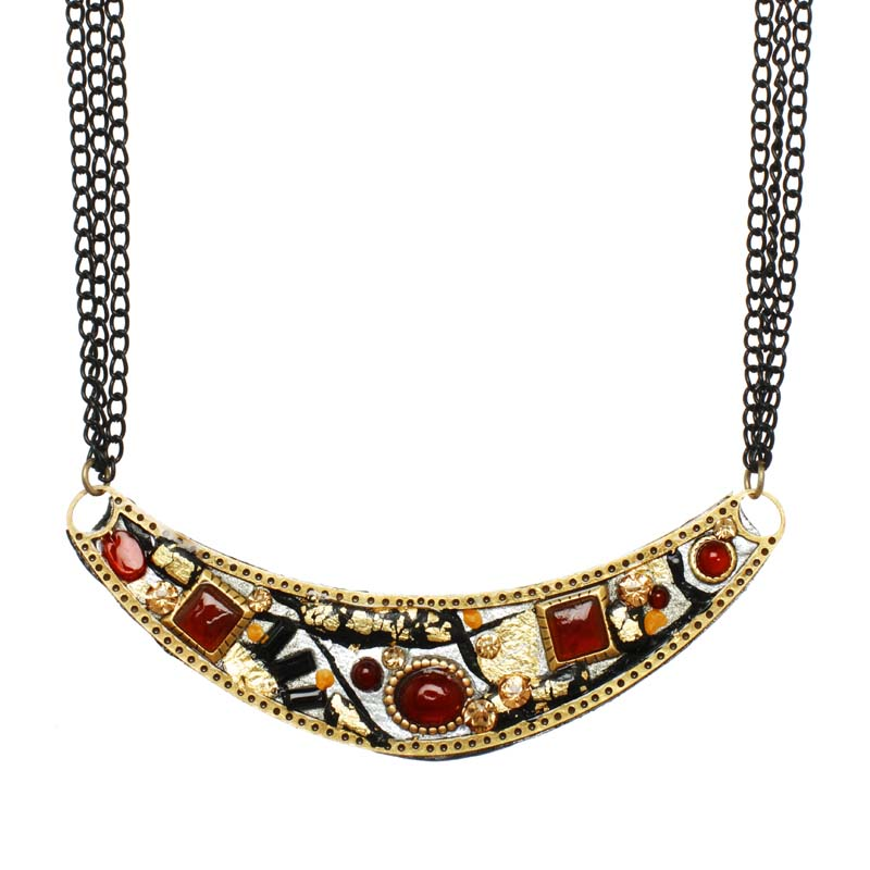 Abstract Large Curved Necklace