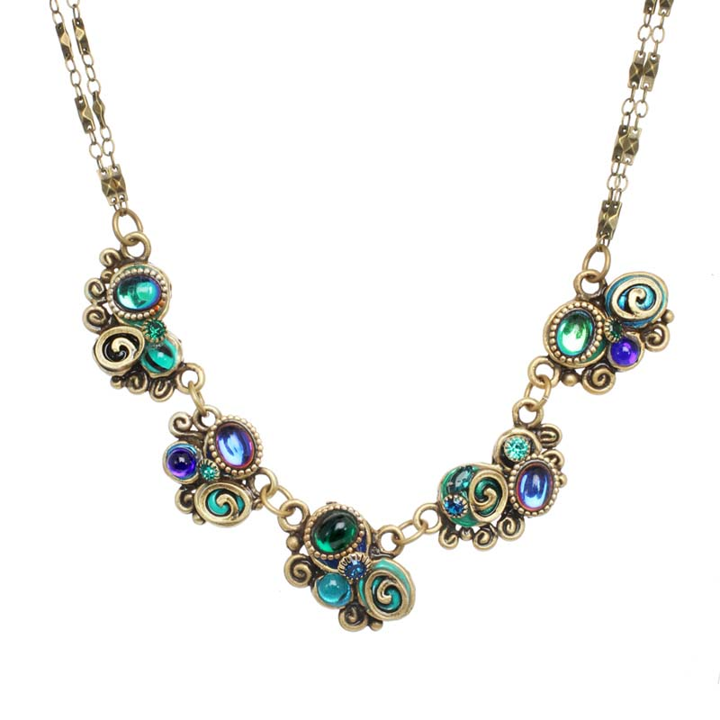 Elaborate 5-piece emerald pendant necklace