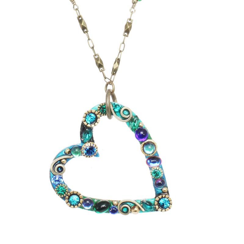 Emerald Open Heart Pendant Necklace