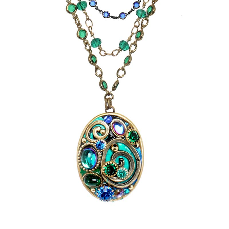 Emerald Oval Triple Chain Necklace