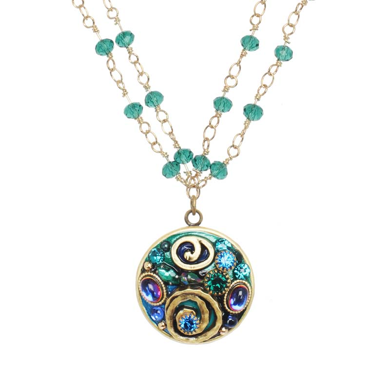 Emerald Small Circle Necklace