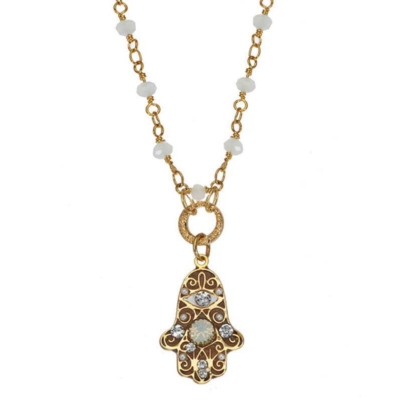 White & Gold Hamsa Necklace