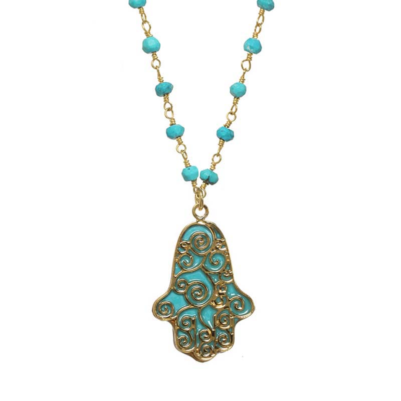 Blue Swirl Hamsa Necklace