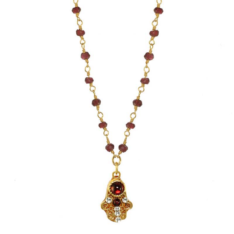 Tiny Garnet Hamsa Necklace