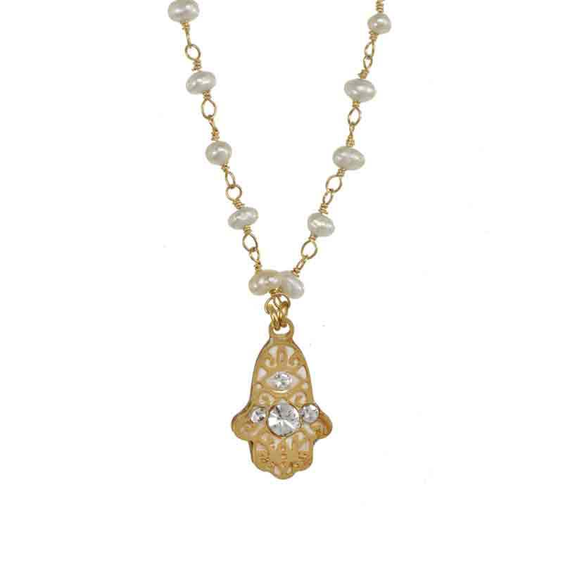 Tiny Pearl Hamsa Necklace