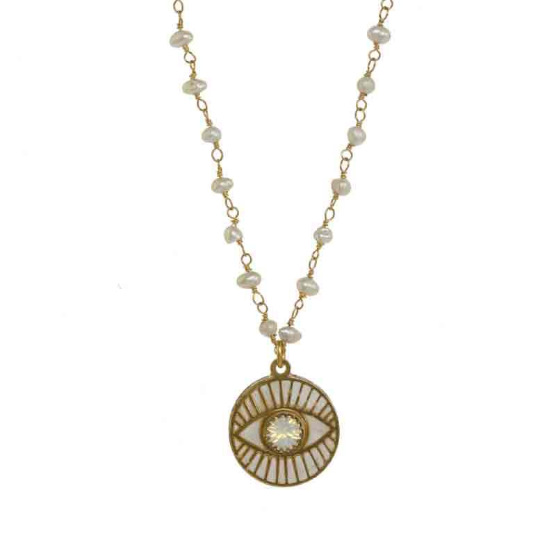White Pearl Eye Necklace