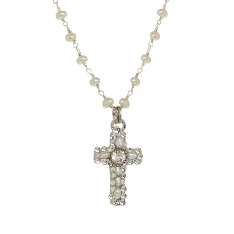 Pearl and Silver Cross Necklace