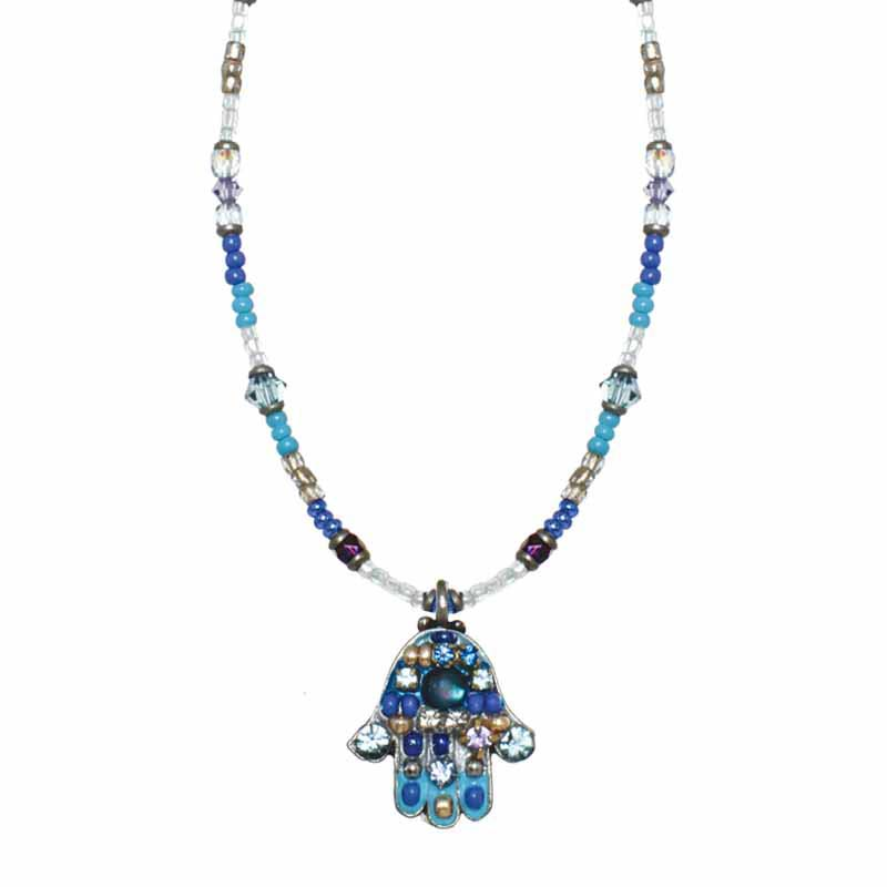 Small Blue Mosaic Hamsa Necklace