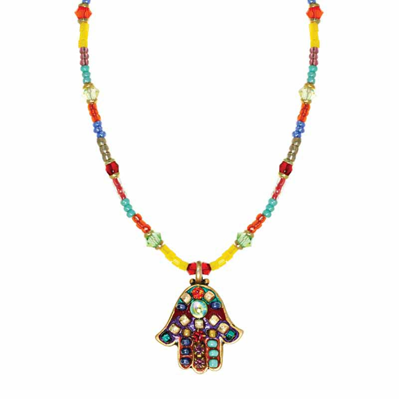 Summer Multi-Bright Hamsa Necklace