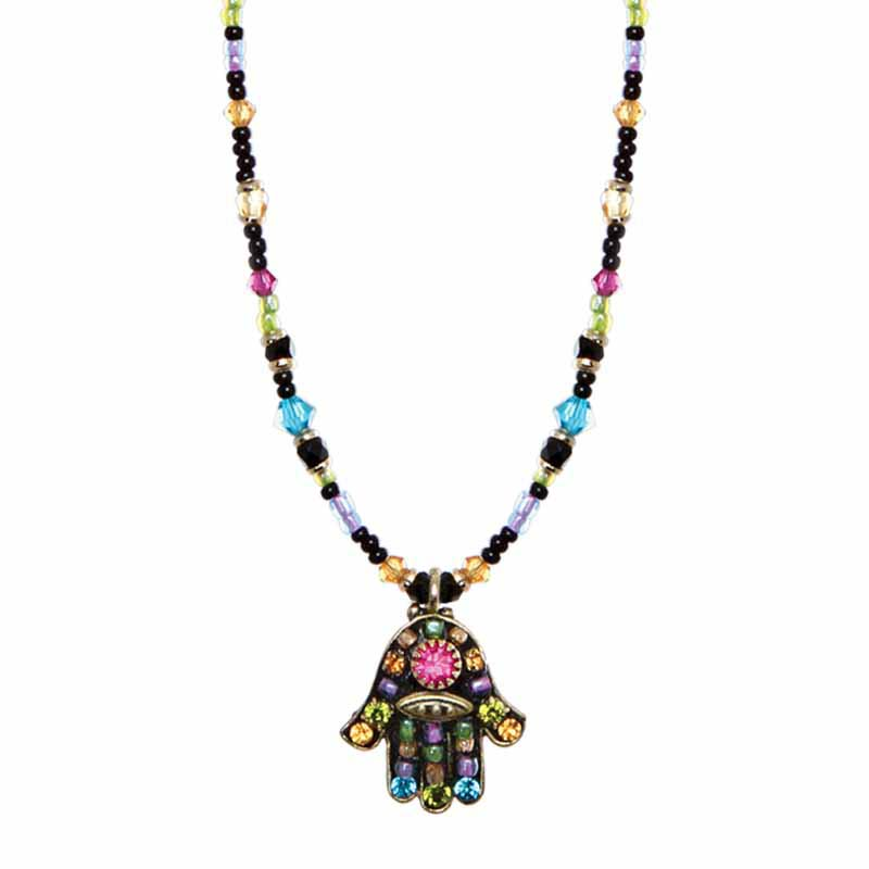 Dark Multi-Bright Hamsa Necklace