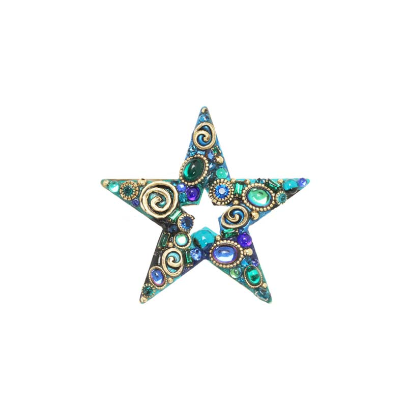 Emerald Star Brooch