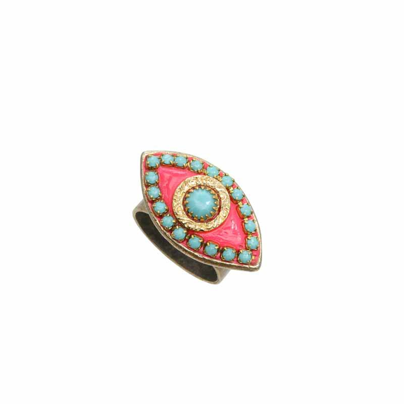 Pink & Blue Evil Eye Ring