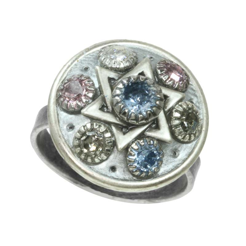 Silver Star of David cocktail ring with Swarovski crystals, handmade at Michal Golan studios USA