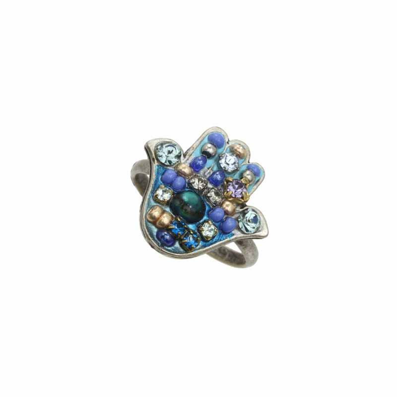Blue Multi-Bright Hamsa Ring