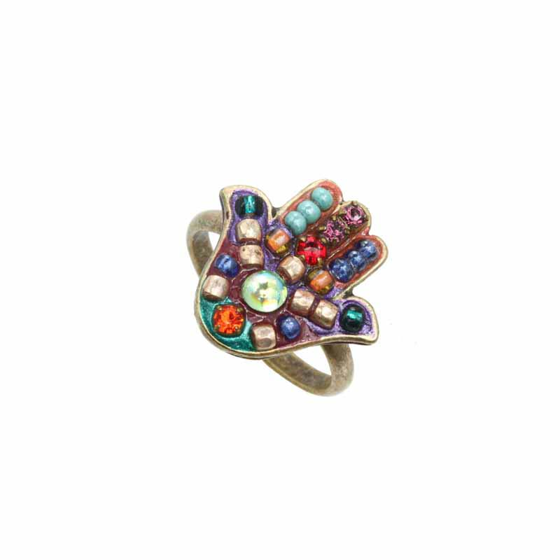 Multi-Bright Hamsa Ring