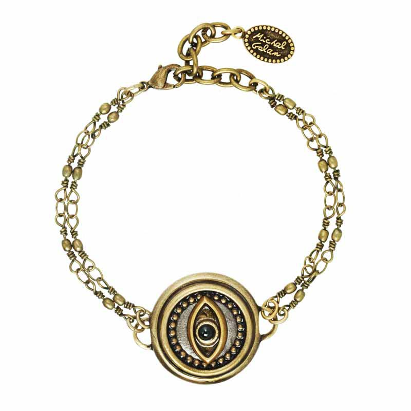 Black Onyx and Gold Circle Eye Bracelet