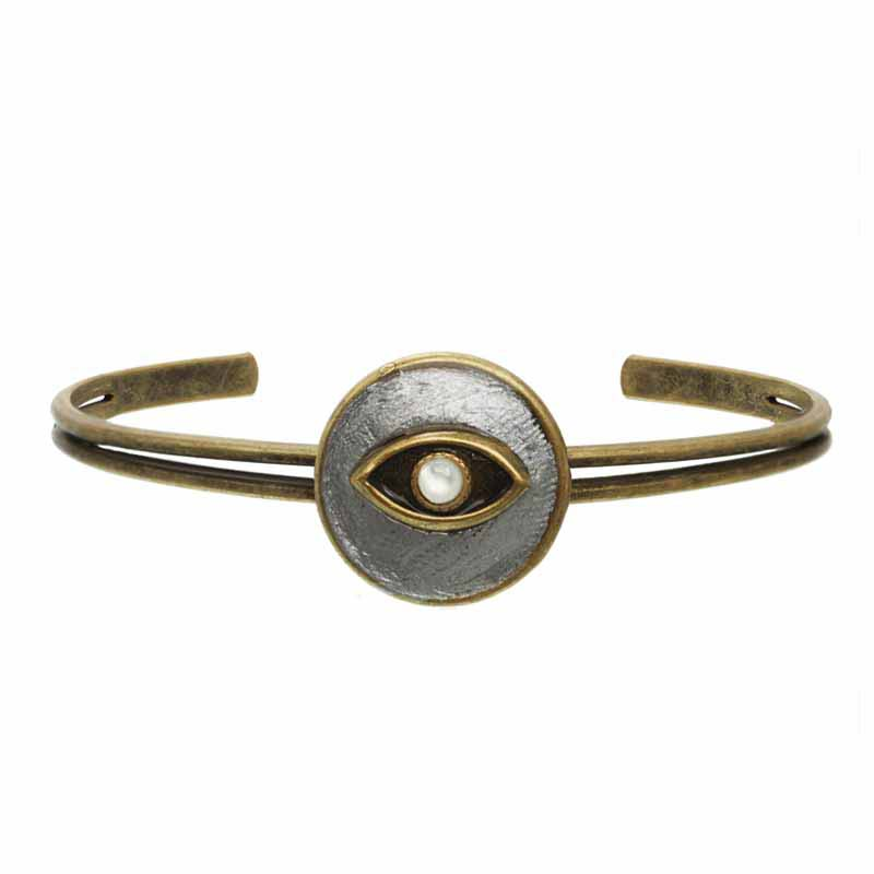 Round Mother of Pearl Evil Eye Cuff Bracelet
