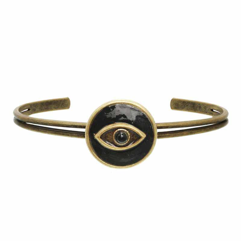 Black Onyx and Gold Circle Eye Bangle