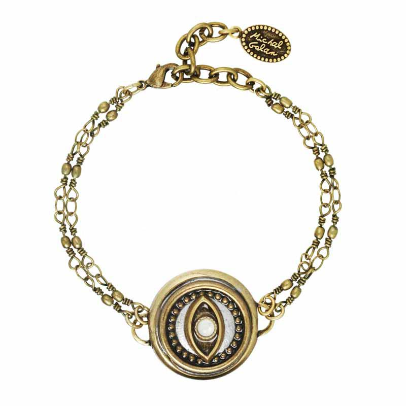 Round Mother of Pearl Evil Eye Bracelet