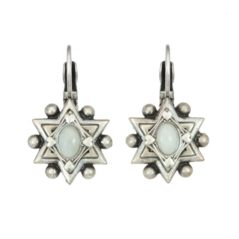 Star of David earring w/ mother of pearl center, handmade at Michal Golan studios USA