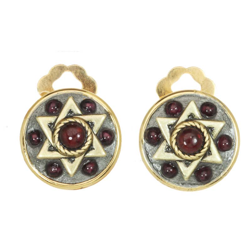 Garnet and Gold Star of David Earring