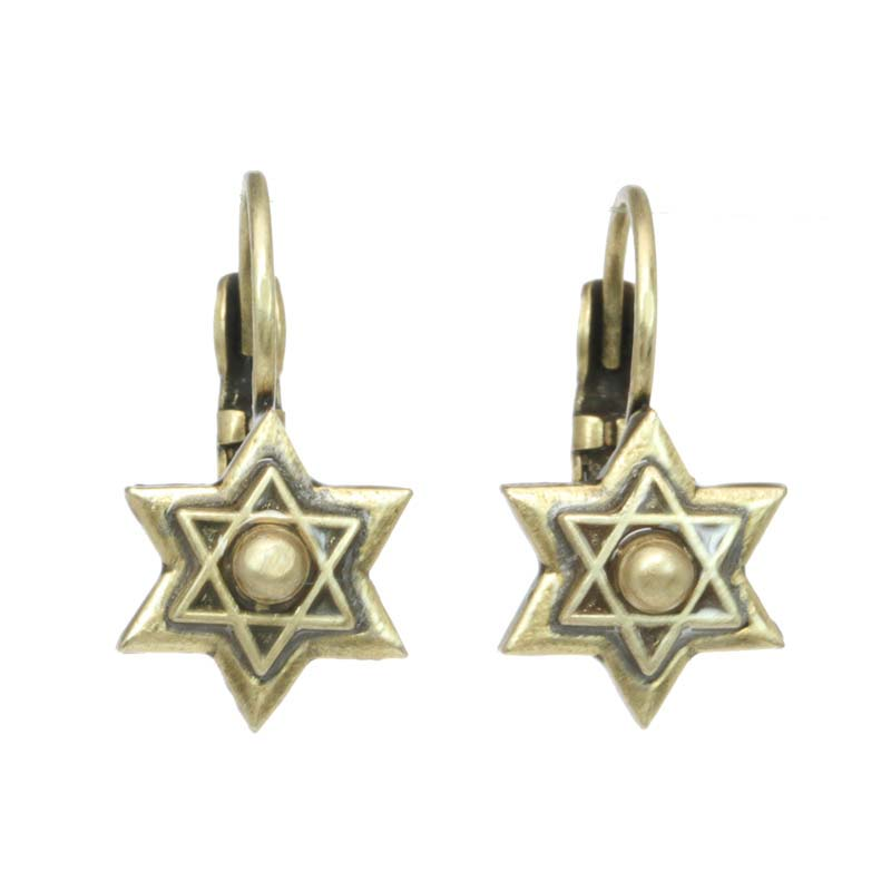 Simple Gold Star of David Earrings