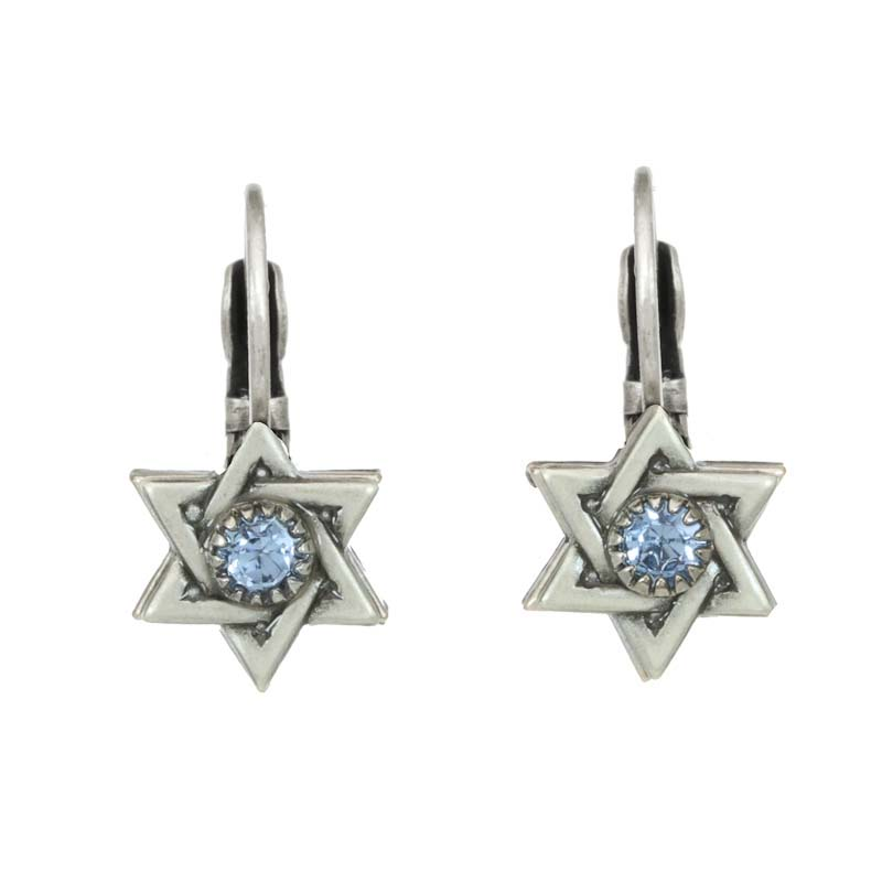 Silver and Blue Crystal Star of David Earrings