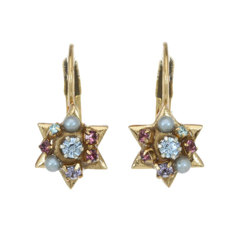 Small Blue and Purple Star of David Earrings