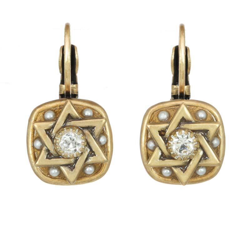 Gold Square Star of David Earrings