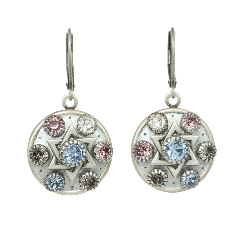 Silver and Pastel Star of David Earrings