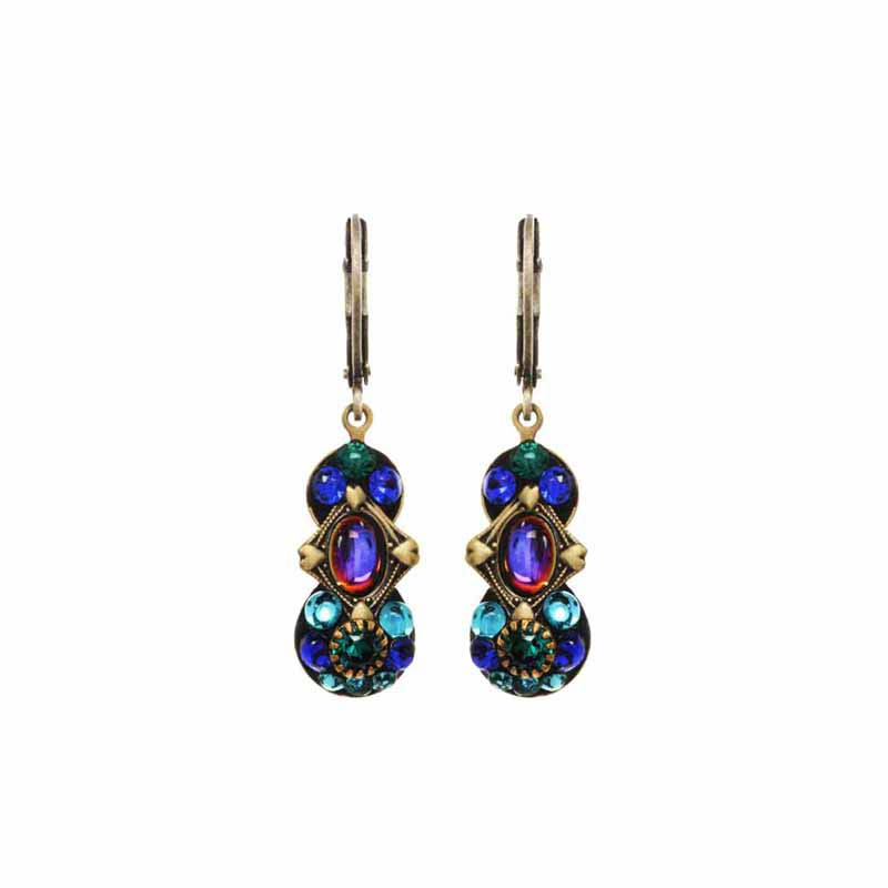Peacock double circle on wire earring w/ glass beads & swarovski crystals, handmade at Michal Golan studios, USA