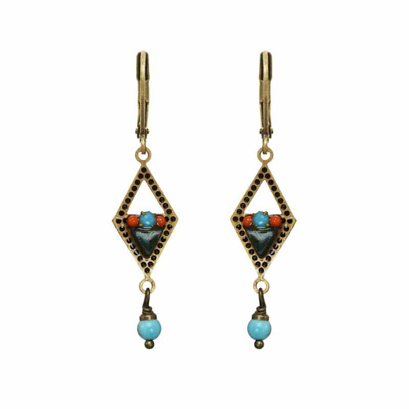 Open Diamond Turquoise & Coral Earrings