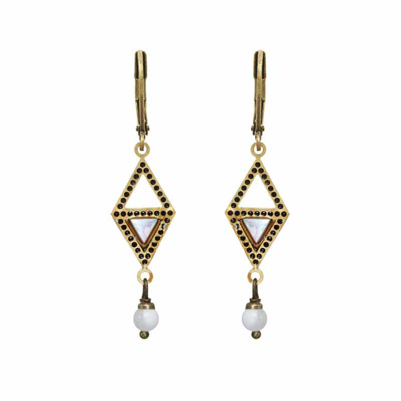 Open Diamond Mother of Pearl Earrings