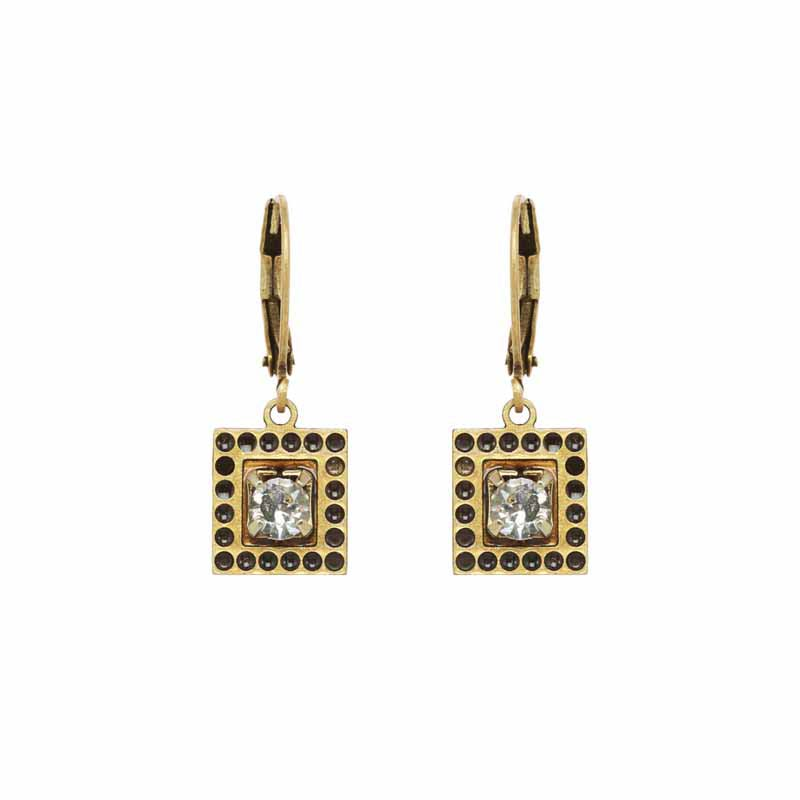 Small Square Clear Crystal Earrings